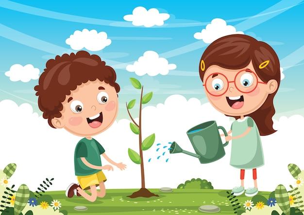 Ilustración de niños plantando