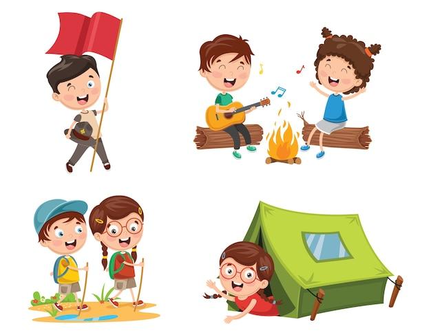 Ilustración de niños que acampan