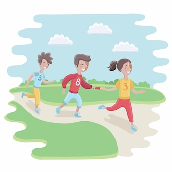 Ilustración de niños que participan en una carrera de relevos