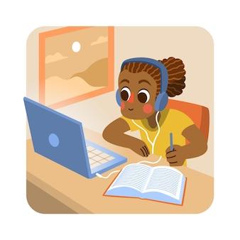 Ilustración con niños tomando clases