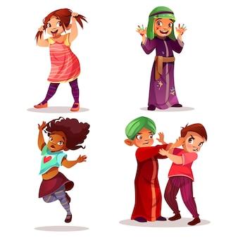 Ilustración de niños traviesos de maldad y mal comportamiento de niños.