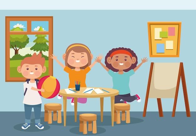 Ilustración de niños de tres estudiantes