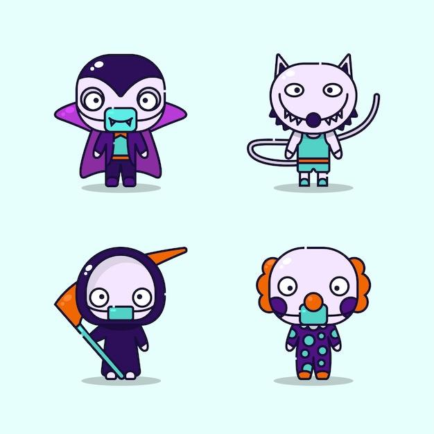 Ilustración de niños vestidos de vampiro, hombre lobo. parca, disfraces de payaso y máscara médica protectora en el evento de halloween