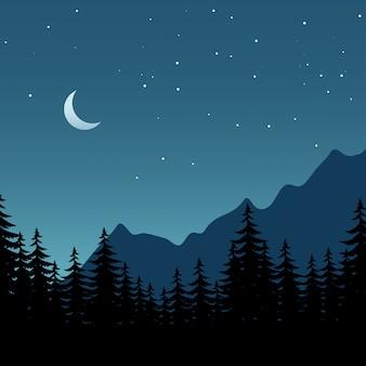 Ilustración de noche de vector de bosque con luna cescente y estrellas