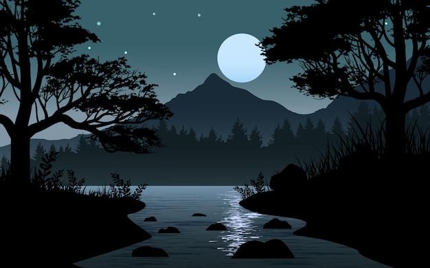 Ilustración nocturna con río en bosque y luna llena