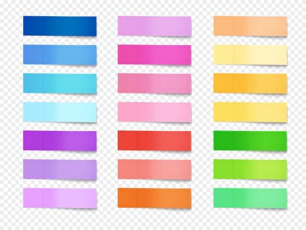 Ilustración de notas adhesivas de memo de papel de diferentes colores.