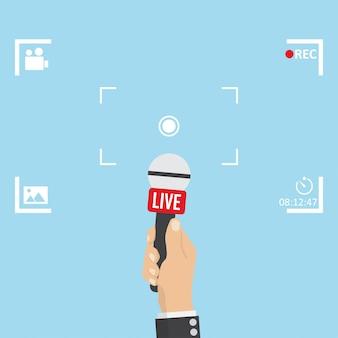 Ilustración de noticias en foco tv y live con marco de cámara.