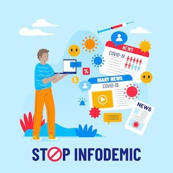 Ilustración de noticias de infodemia