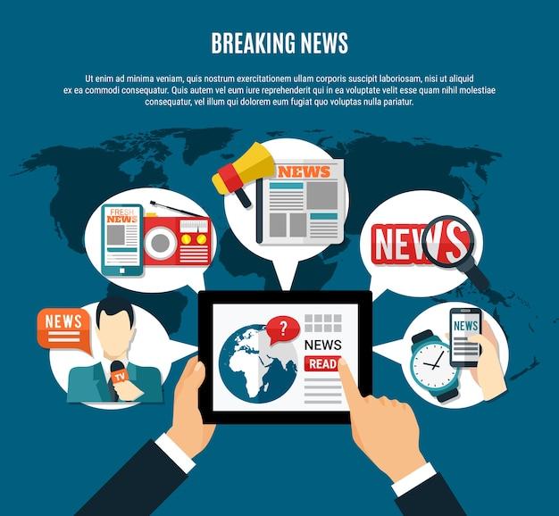 Ilustración de noticias de última hora con información fresca en la pantalla de la tableta, el periódico del presentador de televisión y el receptor de radio, símbolos redondos