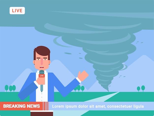 Ilustración de noticias de última hora, periodista con micrófono en vivo en cámara