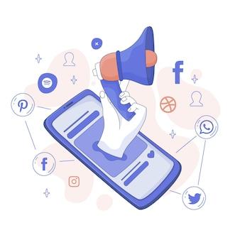 Ilustración de notificaciones de publicación de facebook