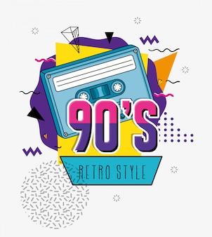 Ilustración de los noventa con diseño de ilustración de vector de arte pop de estilo retro de cassette