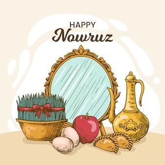 Ilustración de nowruz feliz dibujada a mano con brotes y espejo