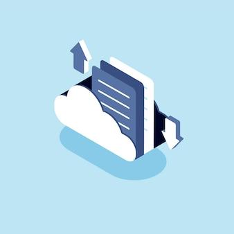 Ilustración de la nube con el concepto de almacenamiento en la nube