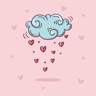 Ilustración de nube con lluvia de corazones rojos en estilo doodle