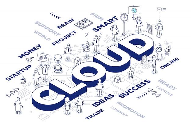 Ilustración de la nube de palabras tridimensionales con personas y etiquetas sobre fondo blanco con esquema.