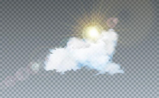 Ilustración con nubes y luz solar aislada en transparente
