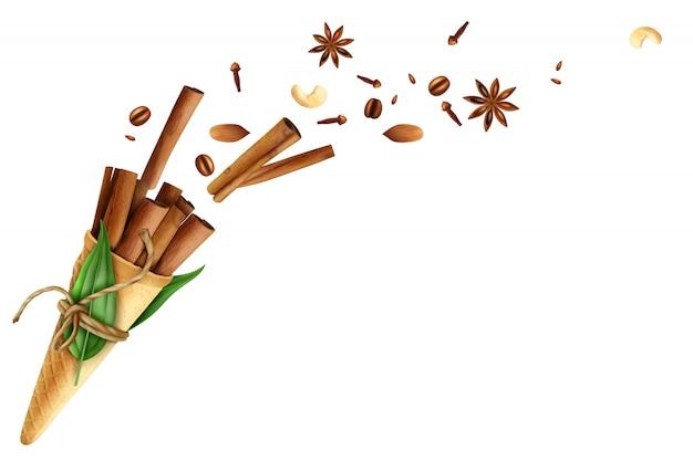 Ilustración de nueces de especias de vuelo de canela