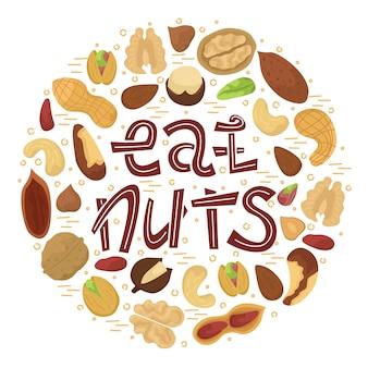 Ilustración con nueces planas dispuestas en forma de círculo con letras - comer nueces.