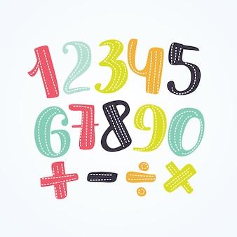 Ilustración de números coloridos establecer signos