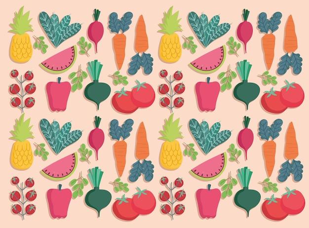 Ilustración de nutrición de frutas y verduras frescas de patrones sin fisuras de alimentos