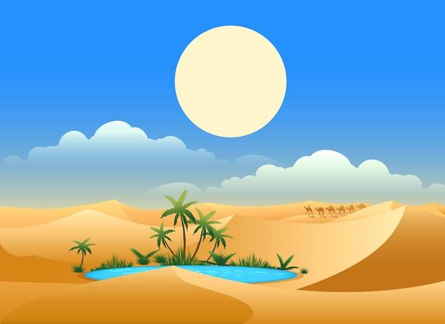 Ilustración de oasis en el desierto