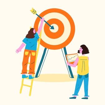 Ilustración de objetivo y flecha en un estilo plano