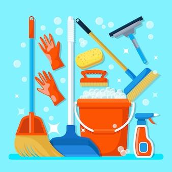 Ilustración de objetos de limpieza de superficies