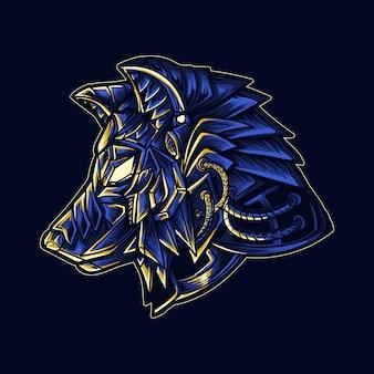 Ilustración de obra de arte y camiseta cabeza de robot lobo mecha