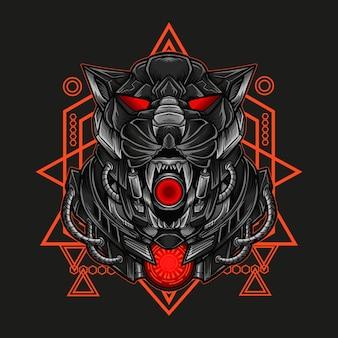 Ilustración de obra de arte y camiseta cabeza de robot pantera mecha con geometría sagrada