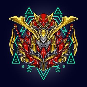 Ilustración de obra de arte y camiseta mecha samurai ronin cabeza de robot con geometría sagrada