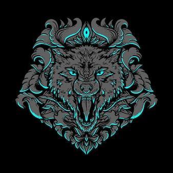 Ilustración de obra de arte y diseño de camiseta, cabeza de lobo, adorno de grabado dorado