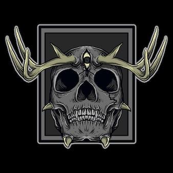 Ilustración de obra de arte y diseño de camiseta diablo cráneo cuerno de venado