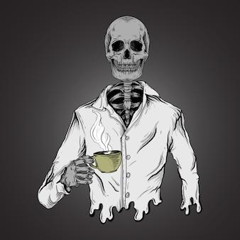 Ilustración de obra de arte y diseño de camiseta esqueleto beber café