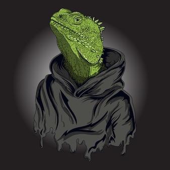 Ilustración de obra de arte y diseño de camiseta hombre iguana reptil humano
