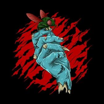 Ilustración de obra de arte y diseño de camiseta mano zombie abstracta con moscas