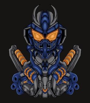 Ilustración de obra de arte robot mecha