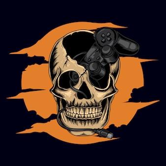 Ilustración de obras de arte y diseño de camiseta cráneo humano humano con juego de controlador