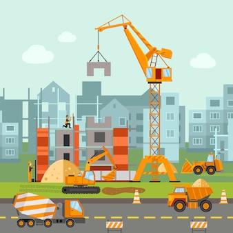 Ilustración de obras de construcción