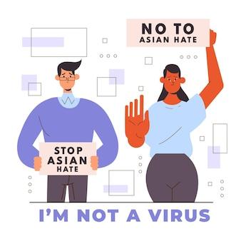Ilustración de odio asiático de parada plana