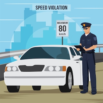 Ilustración de un oficial de policía que le da a un conductor un boleto de infracción de tráfico