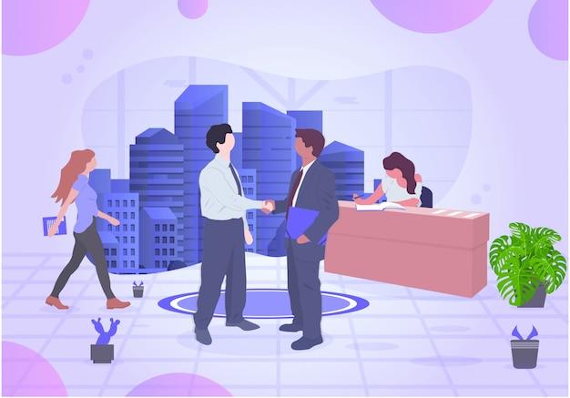 Ilustración de oficina cooperativa de vector de negocio