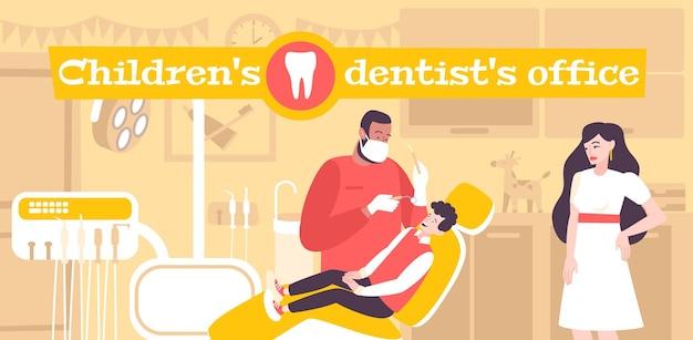 Ilustración de la oficina del dentista infantil.