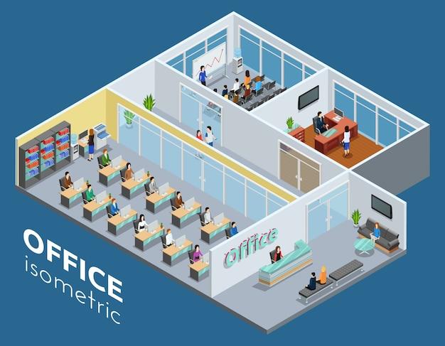 Ilustración de oficina de negocios isométrica