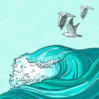 Ilustración de las olas del mar