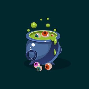 Ilustración de olla de poción verde y ojos