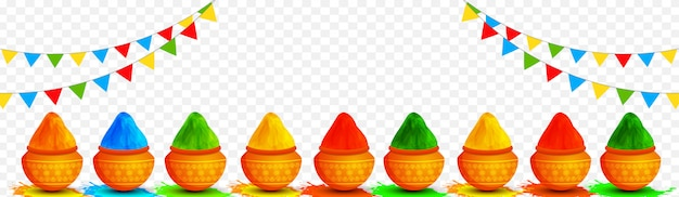 Ilustración de ollas de barro llenas de colores decorados en transpa.