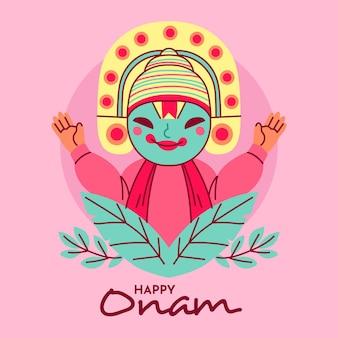 Ilustración de onam feliz con hojas
