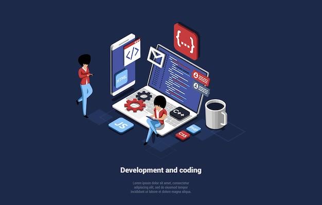 Ilustración de operación en línea y codificación de desarrollo web