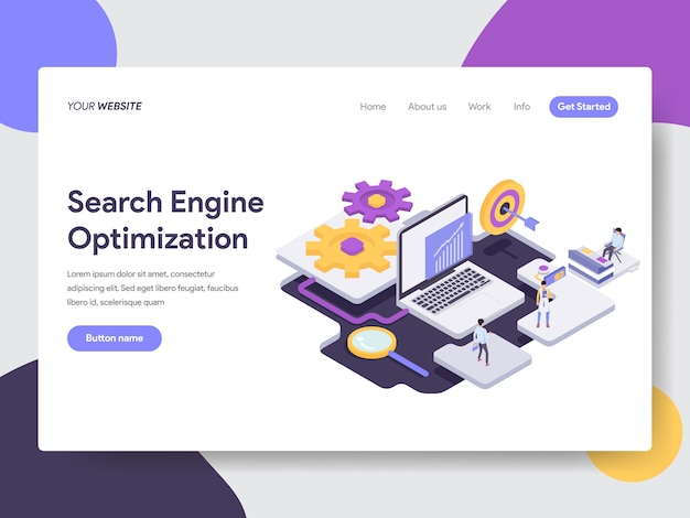 Ilustración de optimización de motor de búsqueda para páginas web